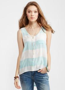 Striped Flowy Pocket Tank