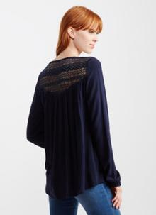 Long Sleeve Lace Woven Peasant Top